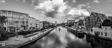 The tightrope walker sculpture panorama Stock Image