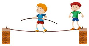 Tightrope Walker on White Background. Illustration Royalty Free Stock Images