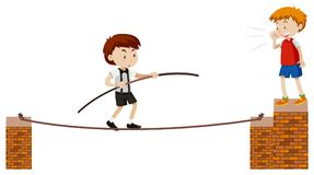 Tightrope Walking On White Background vector illustration