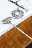 Tightrope on a wood yacht Stock Photos