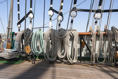 Tightropes and shekels of a yacht Stock Photography