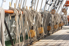 Tightropes and shekels of a yacht Stock Image