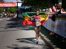 Tigist Tufa of Ethiopia wins Ottawa Marathon 2014 Stock Photos