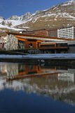 Tignes. The lake and the village of Tignes in french alps Royalty Free Stock Photos
