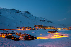 Tignes at blue hour. Tignes is a village and ski resort in the French Alps Royalty Free Stock Photography