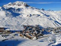 Tignes - ciudad del esquí Imagen de archivo libre de regalías