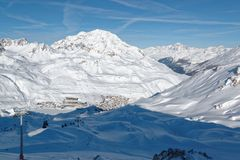 Tignes le Lac and Tignes Le Lavachet Ski Resorts in France. Tignes is a commune in the Tarentaise Valley, Savoie department in the Rhône-Alpes region in south Royalty Free Stock Photo