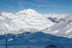 Tignes le Lac e Tignes Le Lavachet Ski Resorts in Francia Fotografia Stock Libera da Diritti
