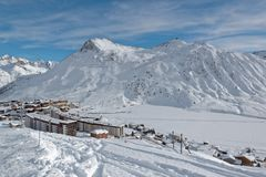 Tignes le Lac Ski Resort in France. Tignes is a commune in the Tarentaise Valley, Savoie department in the Rhône-Alpes region in south-eastern France. It is Stock Image