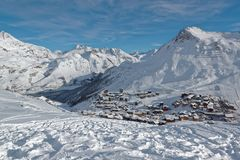 Tignes le Lac and Tignes Le Lavachet Ski Resorts in France. Tignes is a commune in the Tarentaise Valley, Savoie department in the Rhône-Alpes region in south Royalty Free Stock Images