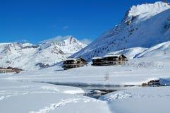 Tignes Ski Center, Le Lac. Tignes Ski Center, French Alpes, Lavachet Royalty Free Stock Photography