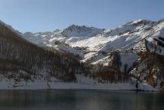 The Tignes ski resort. The Tignes resort and lake in the french alps Royalty Free Stock Images