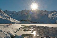 Tignes Val Claret da Tignes Le Lac fotografia stock