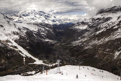 Tignes Val d'Isere. A view from the piste of Tignes Val d'Isere Royalty Free Stock Photography