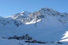 Tignes/Val Rotwein Ski-Rücksortierung Stockfotografie