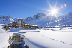 Tignes village with sun Stock Photography
