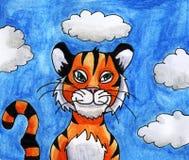 Tigre épique d'aquarelle illustration libre de droits