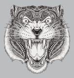 Tigre abstracto dibujado mano detallada Imagen de archivo