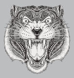 Tigre abstrait tiré par la main détaillé illustration stock