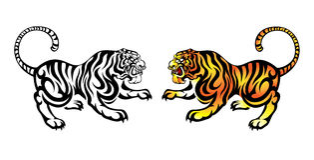 Tigre antigo chinês do estilo Foto de Stock Royalty Free