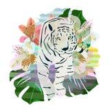 Tigre astratta del modello dell'acquerello, floreale Fotografie Stock Libere da Diritti