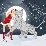 Tigre blanc avec la fille de Santa de Noël illustration de vecteur