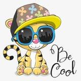 Tigre bonito com vidros de sol ilustração royalty free