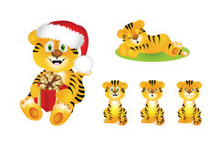 Tigre bonito dos desenhos animados com presente. Vetor Fotografia de Stock Royalty Free