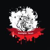 Tigre branco em um quadro com uma fita vermelha ilustração do vetor
