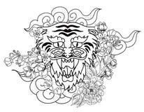 Tigre chinois avec le tatouage d'éclaboussure de fleur et d'eau de Sakura Vecteur d'art de fleur de pêche de tigre et de cerise d photo stock