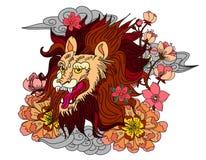 Tigre chinois avec le tatouage d'éclaboussure de fleur et d'eau de Sakura Vecteur d'art de fleur de pêche de tigre et de cerise d photos libres de droits