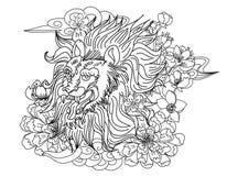 Tigre chinois avec le tatouage d'éclaboussure de fleur et d'eau de Sakura Vecteur d'art de fleur de pêche de tigre et de cerise d photo libre de droits