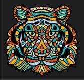 Tigre colorido estilizado del garabato Dé a historieta exhausta el ejemplo animal, página del libro de colorear Adornado decorati libre illustration