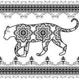 Tigre con gli elementi del confine nello stile etnico di mehndi Illustrazione di vettore isolata su priorità bassa bianca Fotografia Stock