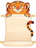 Tigre con il rotolo Fotografia Stock Libera da Diritti