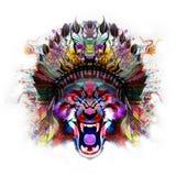 Tigre con mitad del cráneo humano stock de ilustración