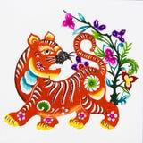 Tigre, découpage de papier de couleur. Zodiaque chinois. Image libre de droits