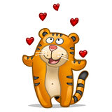 Tigre d'amusement avec des coeurs Photo libre de droits