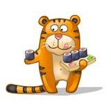 Tigre d'amusement avec des roulis Photographie stock libre de droits