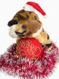 Tigre dans le capuchon de Santa et la bille rouge de Noël Photographie stock