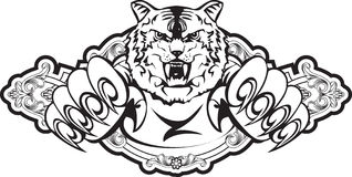 Tigre de ataque no frame Imagens de Stock Royalty Free
