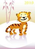 Tigre de bebé en paisaje del invierno. Fotos de archivo libres de regalías