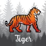 Tigre de Bengal da exposição dobro no projeto do cartaz da floresta ilustração do vetor no fundo nevoento Foto de Stock Royalty Free