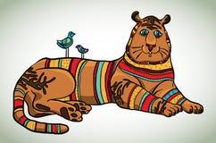 Tigre de la historieta y dos pájaros stock de ilustración