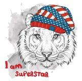 Tigre de la mano en un sombrero de los E.E.U.U. Ilustración del vector Fotografía de archivo libre de regalías