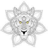 Tigre de vecteur Visage de tigre de Zentangle sur l'illustration de mandala, Tige Photos libres de droits