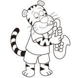 Tigre del fumetto che gioca un sassofono illustrazione di stock
