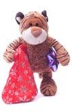 Tigre del juguete con los regalos Imágenes de archivo libres de regalías