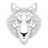 Tigre del vector Ejemplo de la cara del tigre de Zentangle, prin principal del tigre Fotos de archivo