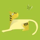 Tigre della carta su fondo verde L'idea per l'autoadesivo illustrazione di stock